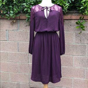 Justfab purple lace detail dress NWOT.